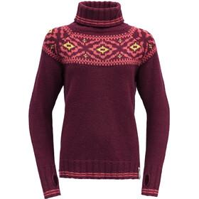 Devold Ona Round Sweater Dames, rood